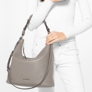 Michael Kors Gray Pebble Leather Hobo Top Zip Bag